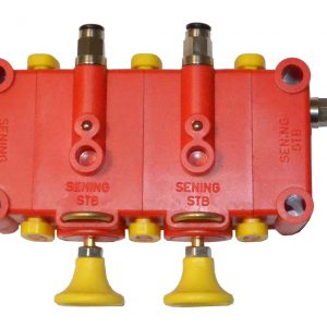 Pneumatic switch with retention for double bottom valve.