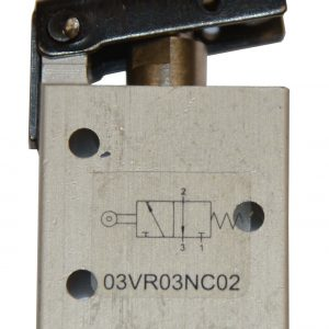 Pneumatic valve with roller lever